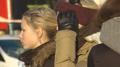 Girl in leather gloves candid